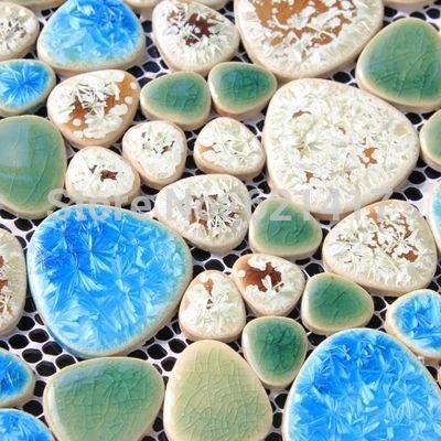 ブルーグリーンガーデン中庭セラミック磁器モザイクbacksplashのHMCM1011小石キッチン壁タイルステッカー浴室床タイル(China (Mainland))
