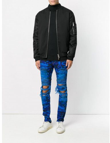 Balmain distressed camouflage jeans