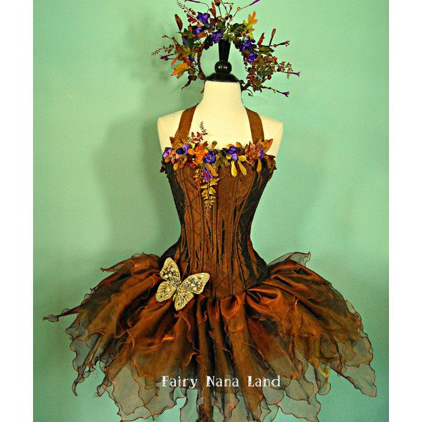 Copper Woodland Faerie - adult corset top fairy costume bust size 36 - 40 ($475) found on Polyvore