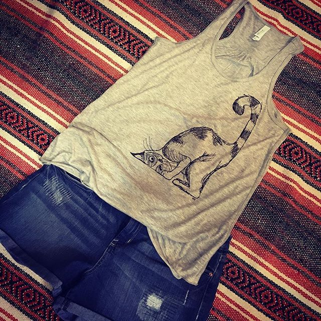 Calling all  Crazy Cat Ladies! New garb at The Urban Gypsy! Soft, flowy, racerback tanks. PM me if you'd like one or get yours at the Curated Spring Market March 10 & 11th. #theurbangypsy #bycurated #yegartist #yegmade #catlover #crazycatlady #cattanktop