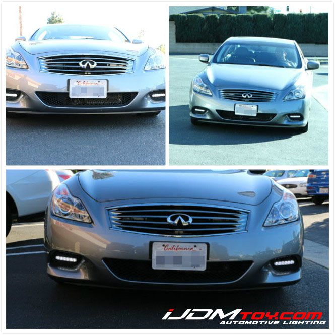 This customer installed the universal fit LED daytime running lamps on his Infiniti G37 coupe. He told us the installation is pretty easy, simply mount the LED DRL Lamps to the lower bumper plastic insert and tap the wires to ACC...@ http://ijdmtoy.com/BLOG/wordpress/2014/02/20/universal-led-daytime-running-lights-on-an-infiniti-g37/