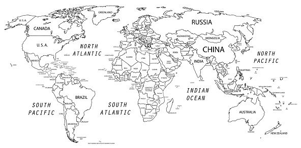 The World Map Was Traced And Simplified In Adobe Illustrator On 2 World Map Coloring Page World Map Outline World Map Printable