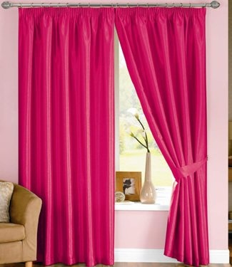 Amazon.com: Ideal Textiles Cerise Pink Curtains - Lined Faux Silk - 46'' x 54'': Home & Kitchen