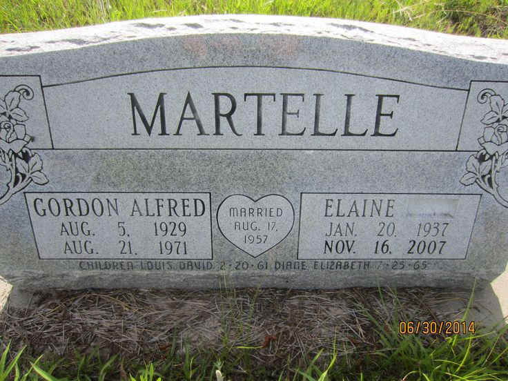 Headstone for Gordon Alfred Martell b. August 5, 1929 d. August 21, 1971 and wife Elaine Martindale Martelle, b. January 20, 1937, d November 16, 2007.  Married August 17, 1957.  Children are Louis David Martelle b.  February 20, 1961 and Diane Elizabeth Martelle b. July 25, 1965 in the German Valley Cemetery north of Brewster, Blaine County, Nebraska.