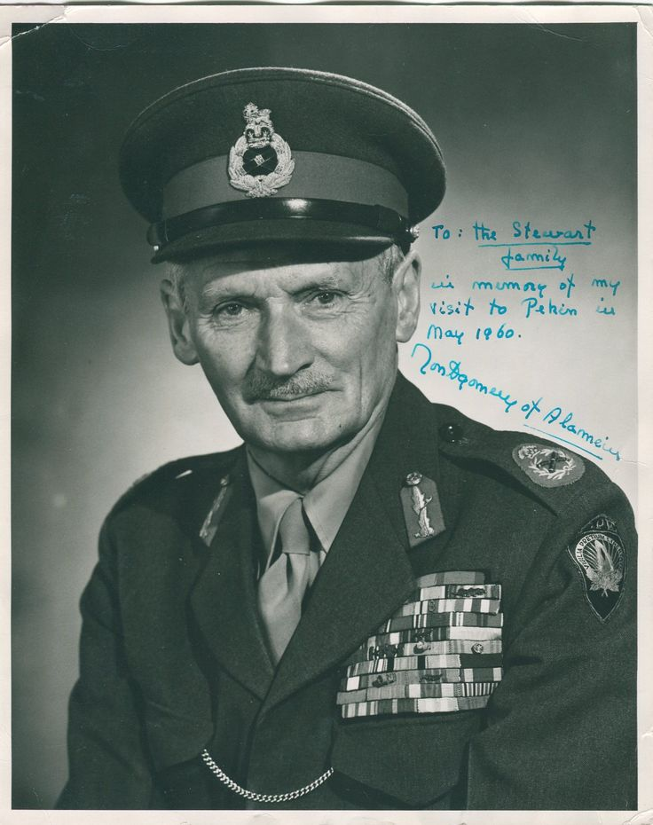 MONTGOMERY B. L.: (1887-1976) British Field Marshal of World War II.   A good vintage signed and inscribed 8 x 10 photograph, the engaging image depicting Monty in a formal half length pose wearing his uniform. The official Supreme Headquarters Allied Powers Europe (SHAPE) image is by Private D. Moller of the US Army and dates from 19th March 1956 according to the official NATO credit stamp to the verso.