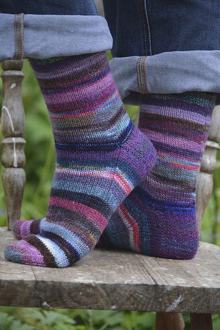 Purple Sock Yarn Leftovers Socks - loved knitting these socks using leftovers from other sock yarn projects.