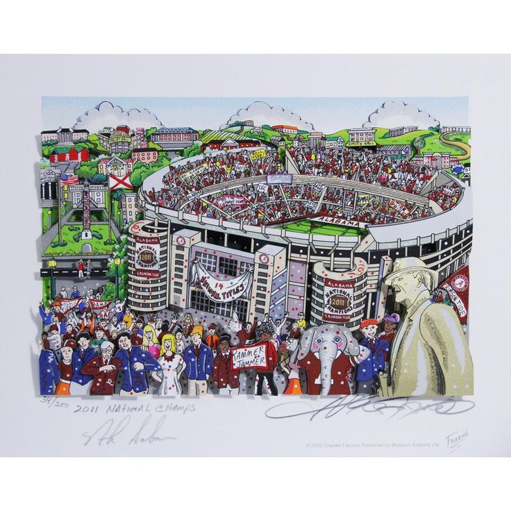 Nick Saban Signed Alabama Pop Art by Charles Fazzino w 2011 National Champs Insc. (14 National Titles)