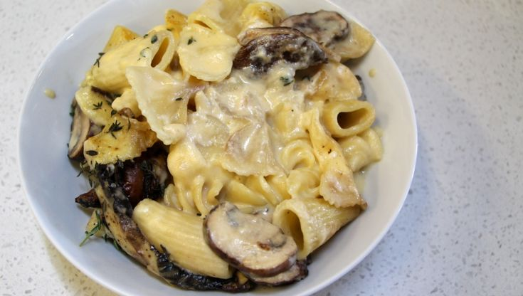 Pasta and cheese bake with mushrooms
