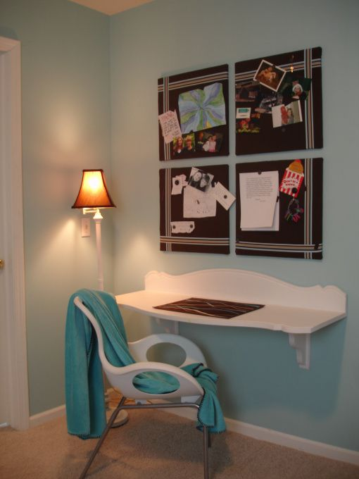 Floating Desk made from old headboard!    ~The Yellow Cape Cod: floating desk