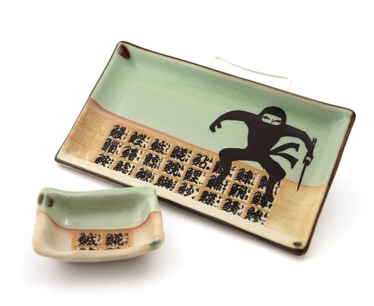 Ninja sushi set plate and dish great gift for warriors, turtle lovers, and foodies, home and living, ceramic and pottery by LennyMud on Etsy