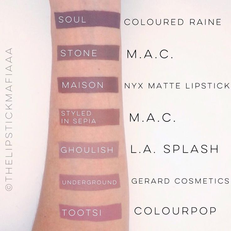 COLOURED RAINE - Soul, MAC - Stone, NYX MATTE LIPSTICK - Maison, MAC - Styled in sepia, L.A. SPLASH - Ghoulish, GERARD COSMETICS - Underground, COLOURPOP - Tootsi #lip #makeup #lipstick