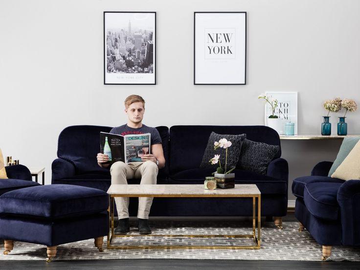 HOWARD DELUXE 3-sits Soffa Sammet Mörkblå - Howardsoffor från Furniturebox