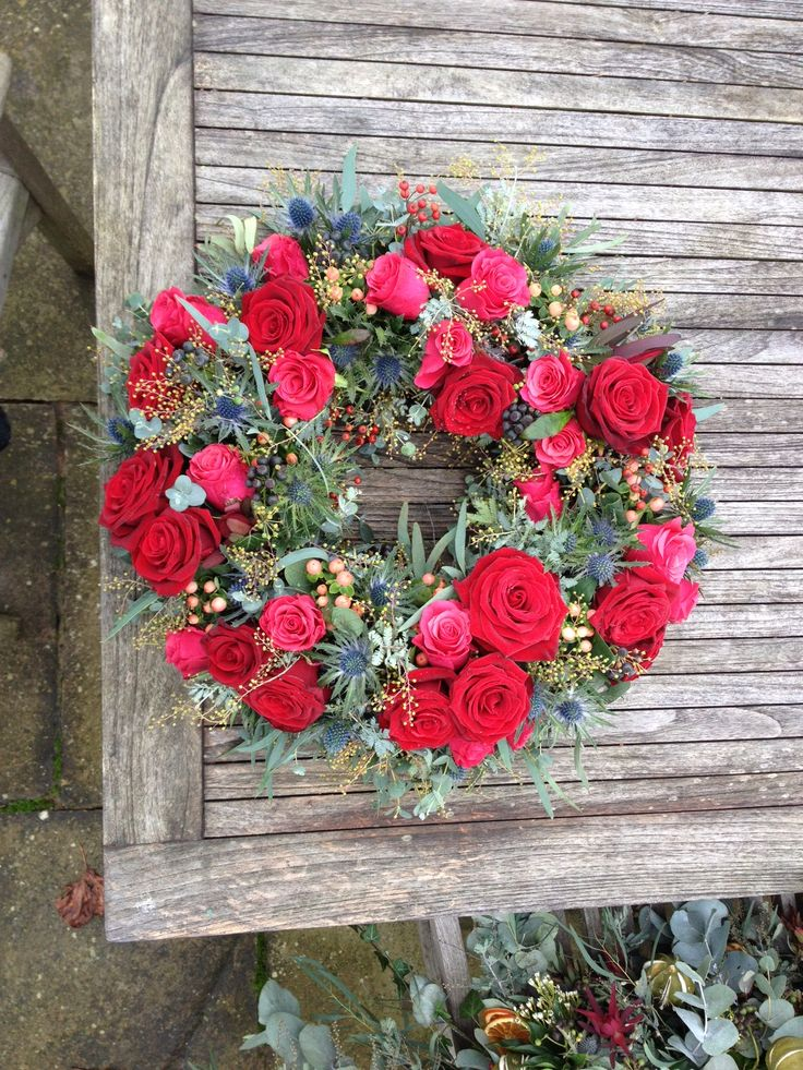 I used Grand Prix Roses, Tacazzi Roses, Hypericum, Mimosa, Eucalyptus, Ivy Berries, Rosehips and Eryngium
