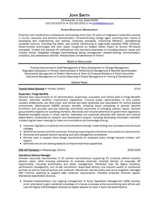 A resume template for a Human Resources Manager. You can download it and make it your own.
