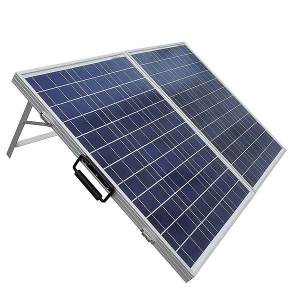 This 100 Watt Portable Folding Solar Panel 12V Battery Charger with Charge Controller is ideal for hiking, camping, and military use, off-grid solar panel syste