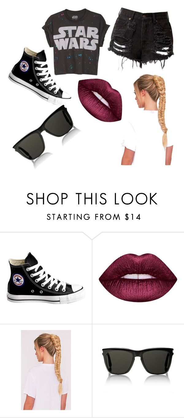 """lista para la guerra de galaxia"" by lovemilu ❤ liked on Polyvore featuring Converse, Lime Crime and Yves Saint Laurent"