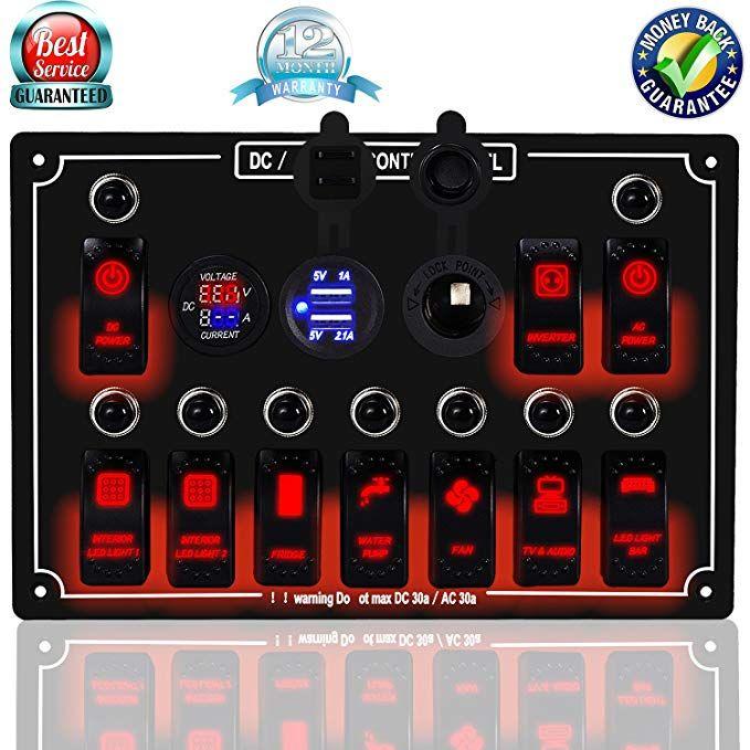 4 GANG WATERPROOF CAR MARINE BOAT CIRCUIT BLUE LED ROCKER SWITCH PANEL BREAKER F