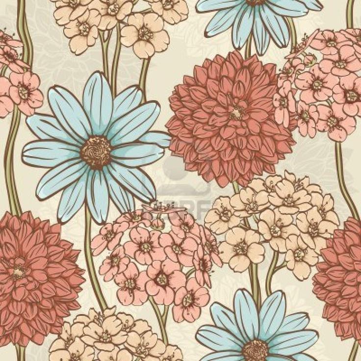 Estampado de flores Semless en estilo retro con flores dibujadas a mano Foto de archivo