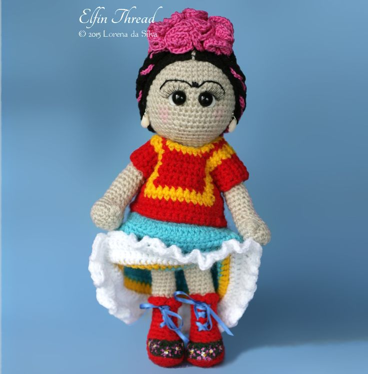 Frida Kahlo Doll Amigurumi Pattern by Elfin Thread