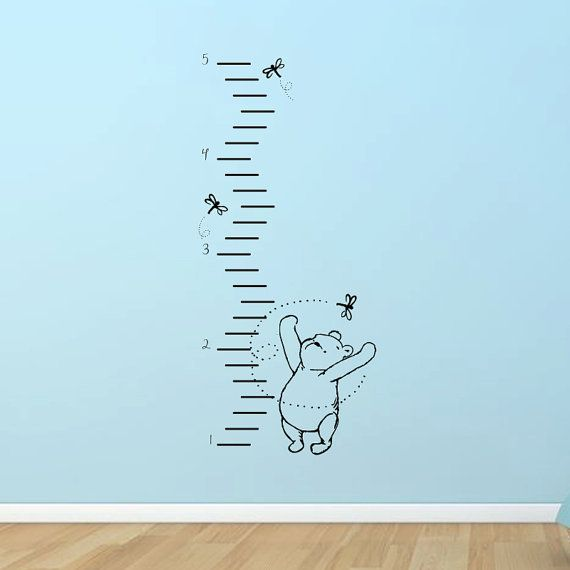 Classic Winnie the Pooh growth chart vinyl wall by GrabersGraphics, $42.00