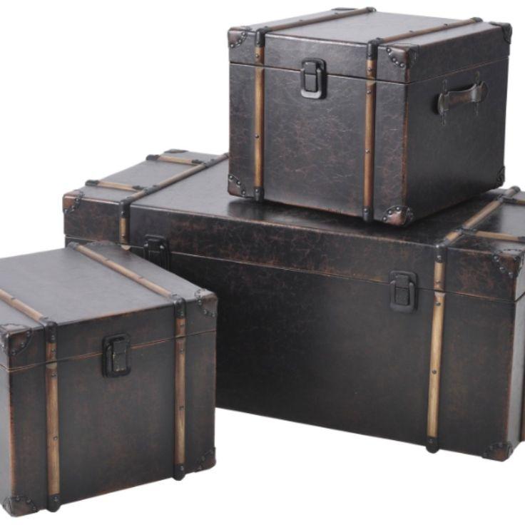 Set Of 3 Dark Tan Trunks