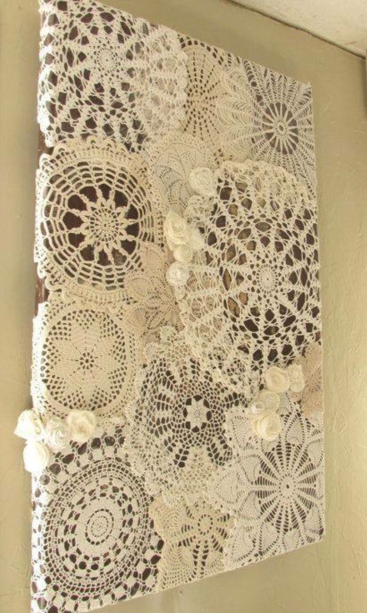 Pretty cool way to display doilies I've crocheted | Craft ...
