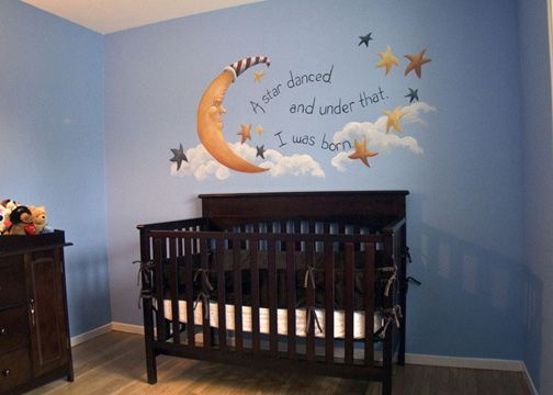 Ok I Know This Is A Nursery But Was Thinking Baby Blue Paint Moon And Stars