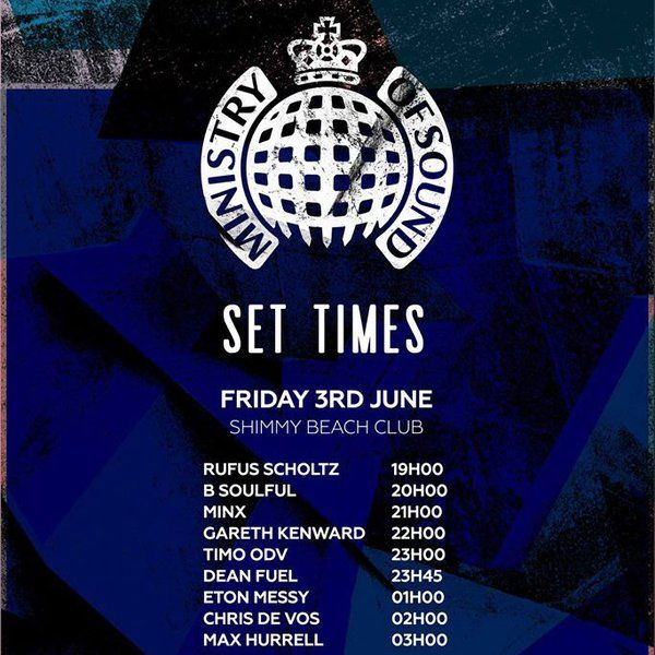 Here is Friday's lineup for @ministryofsound at Shimmy Beach Club.  Tickets are selling FAST - don't miss out! http://bit.ly/1TOrR1r