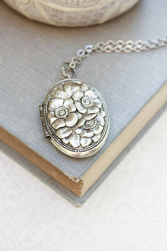 Silver Locket Necklace Antique Silver Floral