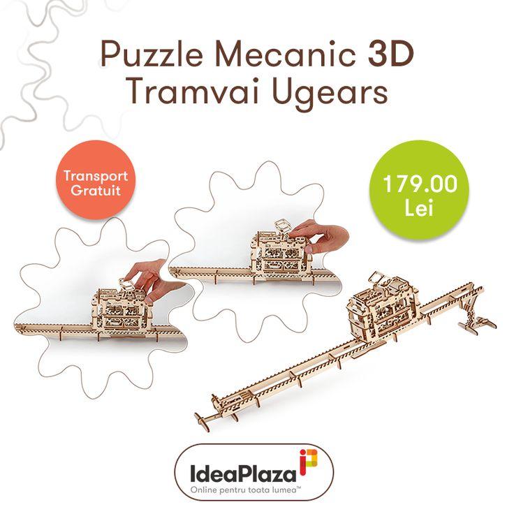 Puzzle Mecanic 3D Tramvai (Transport Gratuit Oriunde in Romania) --- https://goo.gl/B3TbRF     #puzzle #puzzlemecanic #puzzle3d #barbati #copii #cadouri #puzzlelemn #ugears #ideaplaza
