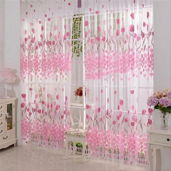 1pc Home Decoration Tulip Pattern Curtain Screens 100cm 200cm Wish Curtains Window Curtains Living Room Girls Room Curtains #pattern #curtains #for #living #room
