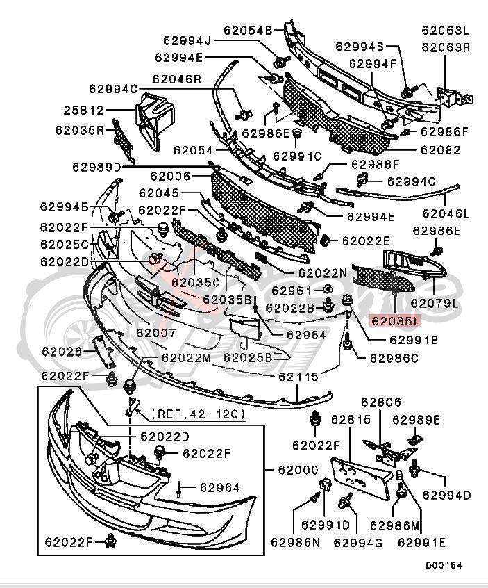 Oem Front Bumper Mesh Grill Lh Mitsubishi Evo 9 Performance Parts Evo 9 Mitsubishi Evo