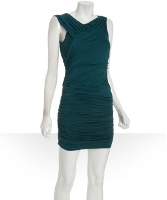 Wyatt deep teal jersey ruched one off-shoulder dress - thoughts?