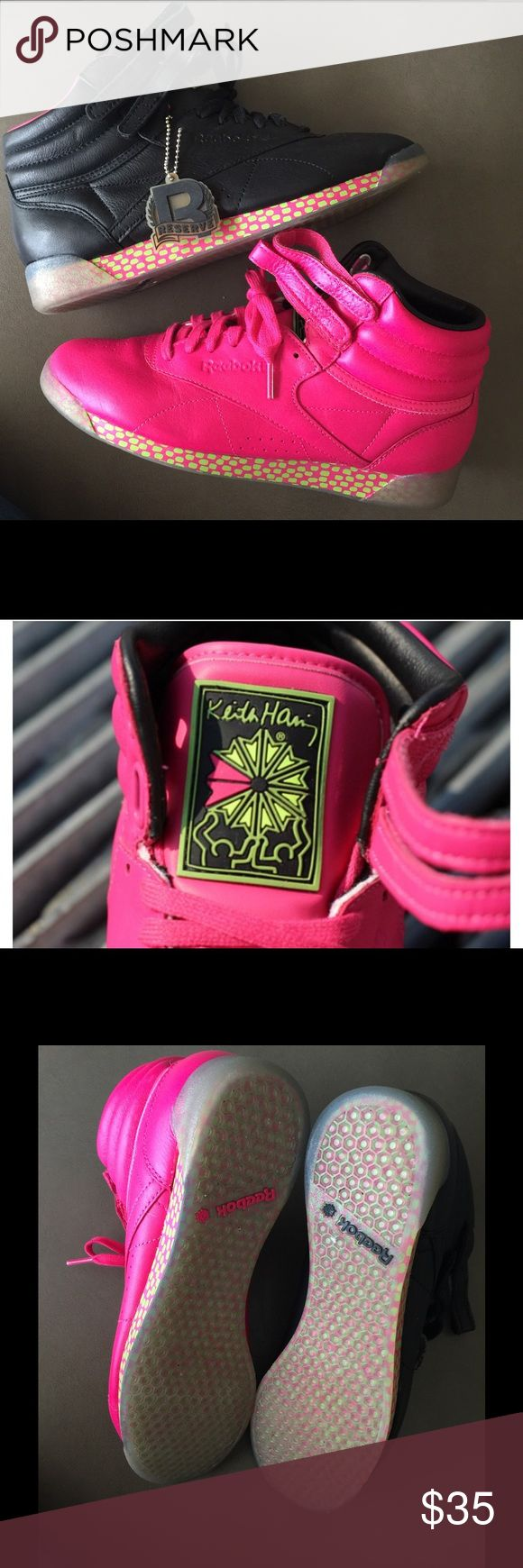 Limited Edition Keith Haring High top Reeboks These limited edition sneakers have a very different look. One shoe is black and one is pink!they I've only wore them once for an 80's party. They have a very comfortable insole. *comes without original box Reebok Shoes