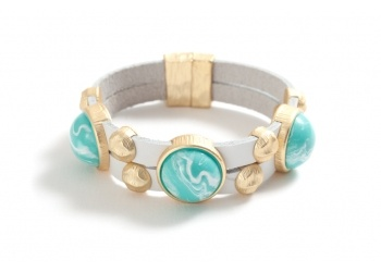 Adriana bracelet in white leather and beautiful turquoise color from karenegren.com