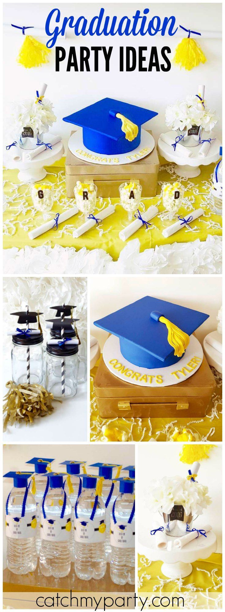 What a great graduation party in yellow and royal blue! See more party ideas at CatchMyParty.com!