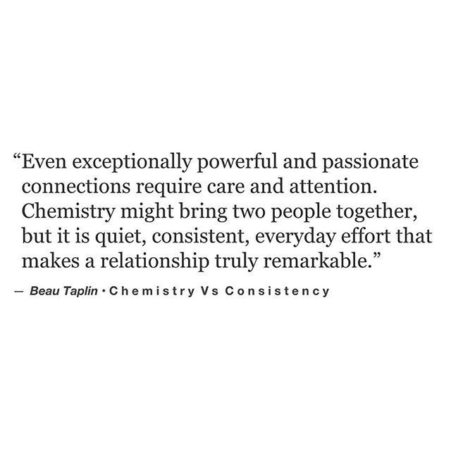Chemistry vs. Consistency.