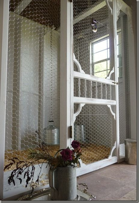 Screen Door- on a chicken coop!  How about a great place for puppies !!!