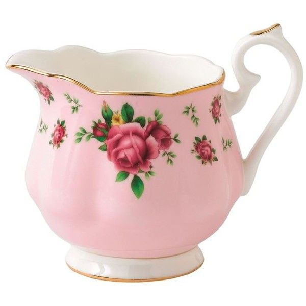 Royal Albert New Country Roses Pink Vintage Cream Jug ($33) ❤ liked on Polyvore featuring home, kitchen & dining, serveware, vintage cream pitchers, vintage bone china, bone china, vintage creamers and royal albert