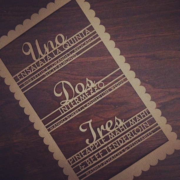 Check out our laser cut Mexican wedding menus on wood grained paper. Designed by Alchemy Fine Events & Invitations www.alchemyfineevents.com