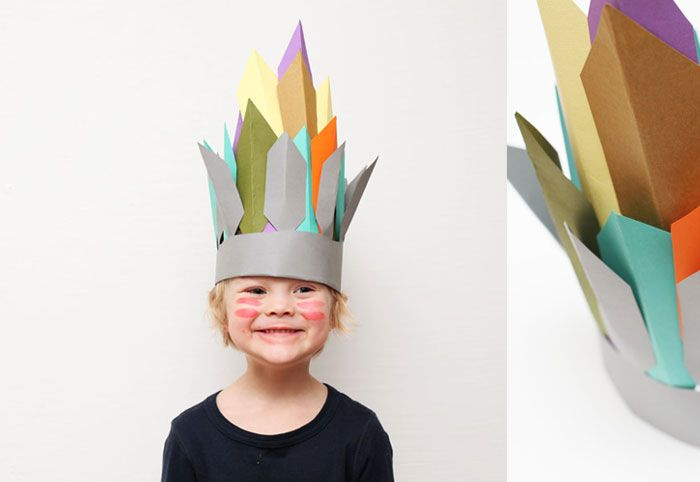 crown.Kids Crowns Crafts, Carnivals Crafts Kids, Indian Crafts Kids, Kids Indian Headress Crafts, Diy Kids Indian Headdress, Birthday Crowns, Diy Indian Headress, Thanksgiving Kids Crafts, Carnaval Diy
