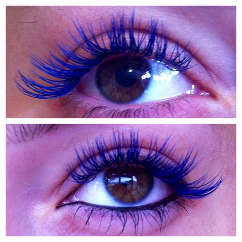 """showmemakeup:    I've just had Blue semi permanent eyelash extensions put on by my twin sister, Callie, who owns """"Get Lashed Lashes"""" How amazing do these look! I've taken a photo pre-makeup, and then one with liner one. I'm in love with these! Check out her page for more of her work, like her rainbow lash extensions; http://www.facebook.com/GetLashedLashes """""""