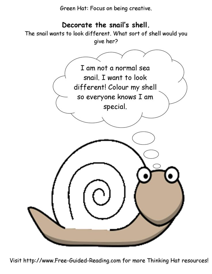 Snail And The Whale Activities - Free Green Hat Thinking worksheets