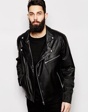 ASOS Faux Leather Bomber Jacket With Contrast Panels