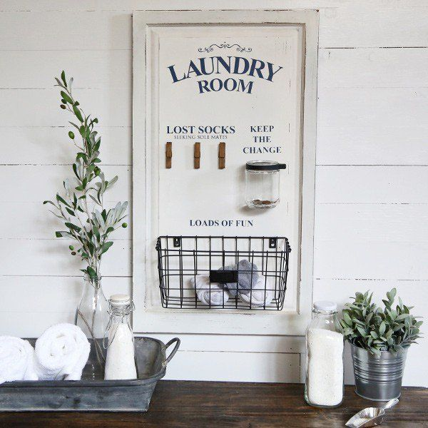 our laundry sign is a large wood laundry board thats farmhouse vintage inspired its the perfect sign to add charm to your space for more visit decor - Laundry Room Decor