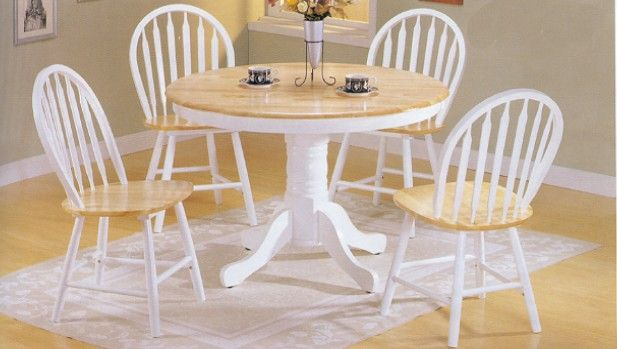 For sunflower decorating pinterest kitchen dining tables dining sets and pedestal - White pedestal kitchen table ...