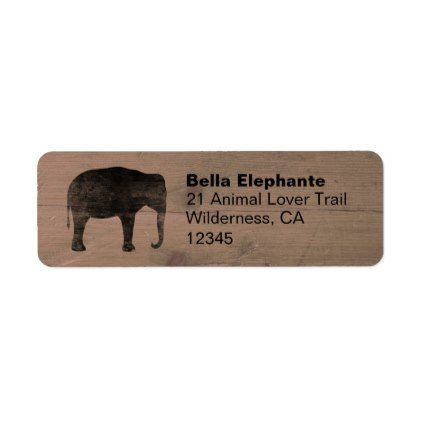 Elephant Silhouette Return Address Labels - return address labels label diy personalize cyo unique design custom