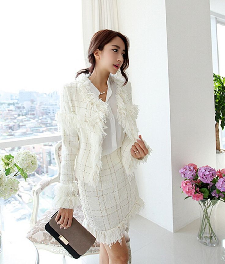 Spring Autumn Korean Style Women Short Coat and Skirts 2 Piece Sets New Female Fringed Tweed Jacket Slim Package Hip Skirt Suits