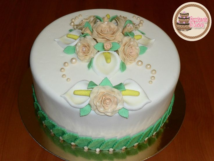 Romantic Cake! Gum Paste Rose and Calla Lily.