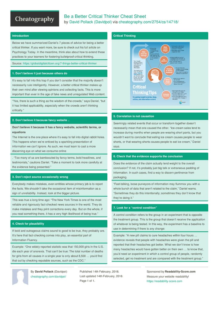 Be a Better Critical Thinker Cheat Sheet by Davidpol http://www.cheatography.com/davidpol/cheat-sheets/be-a-better-critical-thinker/ #cheatsheet #critical #thinking #improve